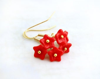 Bright Red Flower Earrings with Christmas red flowers and gold wire wrapping - czech glass beads - Holiday jewelry