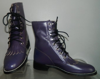 vtg 80s kilties size 7 purple leather boots NOS