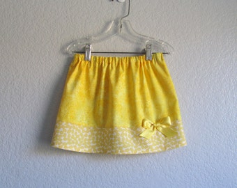 Little Girls Yellow Skirt - Yellow Skirt with Dragonflies - Girls Summer Clothing - Size 12m, 18m, 2t, 3t, 4t, 5, 6  or 7