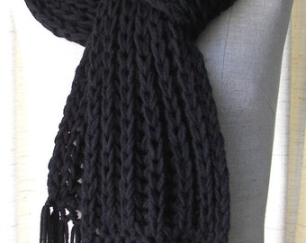 Classic Chunky RIB Hand Knit Scarf in BLACK Acrylic Vegan / Boyfriend scarf / Gray, White, Tan Scarf