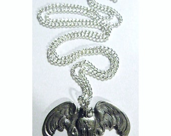 Steampunk Necklace Silver Owl Goth Steam Punk Wizard