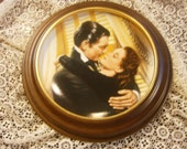 Gone With the Wind 1991 First Issue Plate Marry Me Scarlett! W S George with Wooden Frame