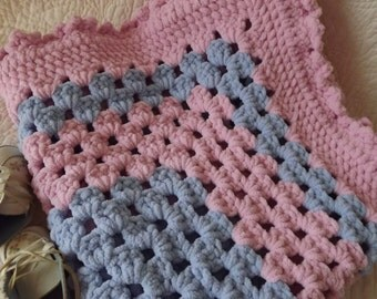 Crocheted Classic Style Granny Square Baby Blanket Pink and Blue - Unique Yarn Used
