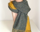 Hand Knit Scarf - Mustard and Grey Nordic Knitting - Wool Scarf - Fantasy Scarf - Women Men Unisex Scarf