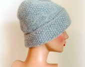 Hand Knit Hat Womens Hat - Modern hat in Grey - Knitted Hat - Modern Fashion Hat - Grey Wool Thickened hat