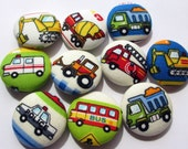 you pick 5 construction site vehicles transportation handmade fabric covered buttons 1 1/8 inches