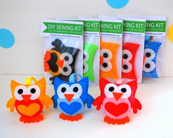 Owl Sewing Kit, Felt Hand-Sewing Kit with PreCut Felt, Craft Felt Sewing Kit, Kid Sewing Kit, diy Felt Sewing Kit READY TO SHIP A791