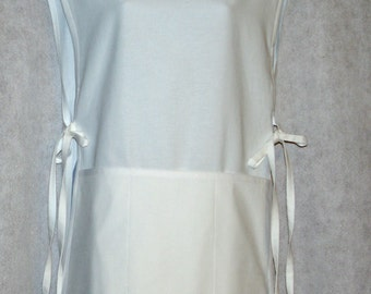 Cobbler Apron, White Smock Tunic Apron, Personalize With Name, No Shipping Charge, Ready To Ship TODAY, AGFT 578
