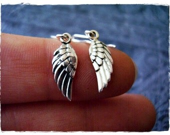 Silver Angel Wing Earrings - Sterling Silver Angel Wing Dangle Earrings