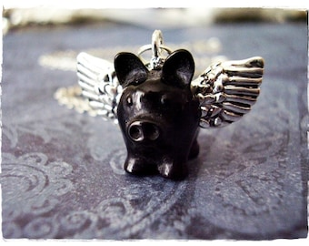 Black Flying Pig Necklace - Black Resin Flying Pig Charm on a Delicate Silver Plated Cable Chain or Charm Only