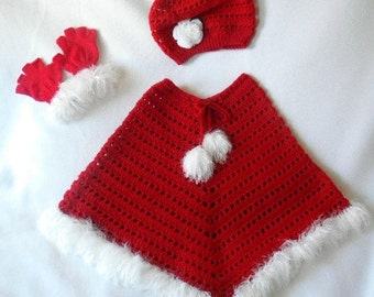 Crochet Little Girls 5-7 years old Christmas Bay Breeze Poncho and Slouchy Hat & Fingerless Gloves in Red and White Original Design