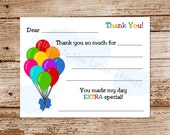 Balloons Thank You Cards for Kids | Fill in the Blank | Printable (Instant Download)