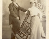 WESTERN Couple In Unique Pose with a ROCKING CHAIR Cabinet Photo Woman Photographer Mrs. Brittan Circa 1890s Walla Walla Washington
