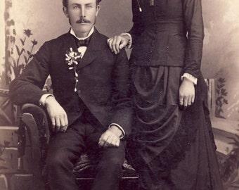 Beautiful VICTORIAN Dress with Matching NECKPIECE and HAT on Kiel Wisconsin Woman Cabinet Photo Circa 1890s