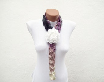 Removeable Brooch Pin  Hand Crochet Lariat Scarf  White Lilac  Flower Colorful Variegated  Necklace Winter Fashion women scarf mothers day