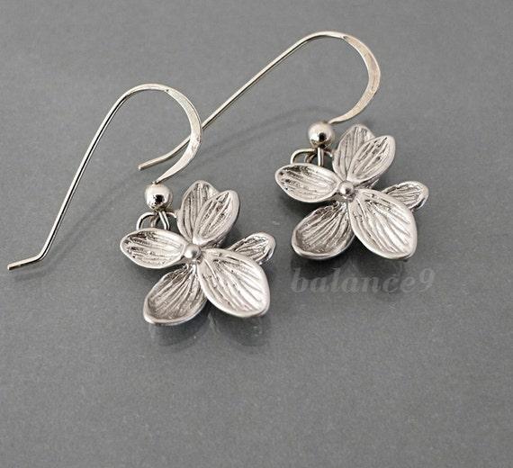 Silver Flower Earrings, Azalea dangle earring, dainty drop, sterling earwire, everyday jewelry holiday gift, bridesmaid wedding, by balance9