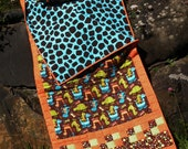 Child's Quilted Sleeping Bag in Orange, Turquoise and Chocolate Brown