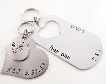 Her One, His Only Matching Keychains. Personalized Keychains for Couples. Heart keychains. Initials & Dates.