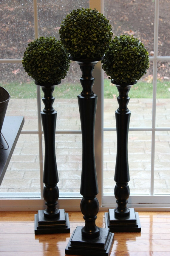 30 Very Tall Black Candlestick Gloss Candle By