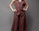 "SALE -- Vintage 80s Secretary Plaid School Girl Uniform Outfit Vest Midi Skirt Red Scottish L (42"" Bust)"