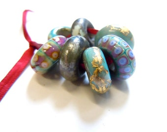Ancient Tehran Big Hole Beads, Set of 7 Lampwork Beads for Charm Bracelets, UK SRA Made to Order