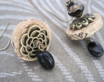 Wine Cork Earrings With Antique Bronze and Black Accents