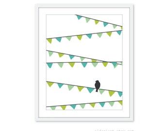 Bird on Garland Digital Print - Modern Nursery Home Decor Turquoise Green Customizable Art Under 20