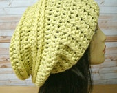 Crochet Slouch Hat Lime etsy ladies hat teenager hat Chunky slouch