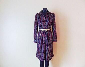 SALE Vintage Womens Dress Rainbow Wormy size Medium or Large