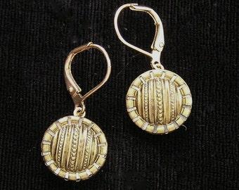 1800s Brass Button Earrings