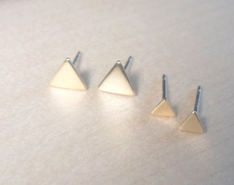 Triangle Studs, Triangle posts, Gold Triangle Earrings, 925 sterling silver posts, Geometric studs, Geometric post studs, triangle earrings