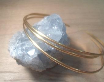 Open bangle, Set of Three bangles, Hammered Brass Bangles, Open End Bangles, stacking bangles, stacking bracelets, gold bangles, gold stack