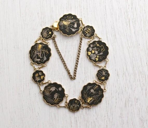 Vintage Damascene Asian Panel Bracelet Gold Amp Silver Inlay