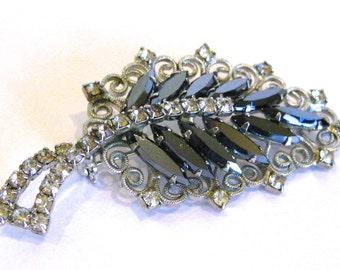 Vintage Art Deco Silver Heamtite & Rhinestone Designer Brooch Pin