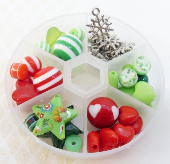 Christmas Beads Variety Box Red, White and Green resin bead Destash