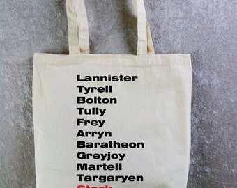 GAME of THRONES Tote Bag - Houses of Westeros, Bloodied House Stark.  Natural Cotton Flat Tote