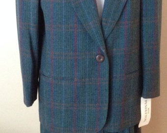 Vintage Miss Pendleton Wool Plaid Skirt Suit NWT