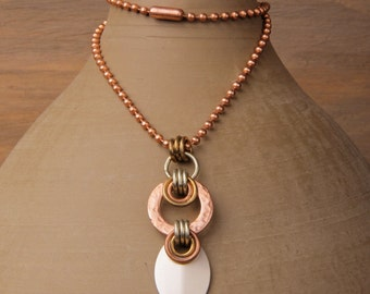 Athena necklace, small: hammered copper washer, silver scale, brass and silver rings, copper ball chain