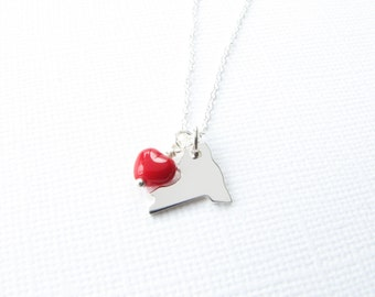 Tiny state necklace state charm sterling silver red heart love