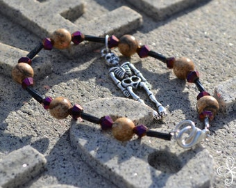 Black, Purple and Picture Jasper Skeleton Charm Bracelet