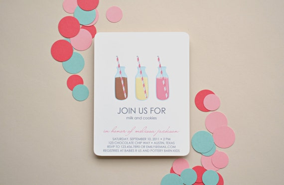 Milk and Cookies Invitations - Choose Your Colors