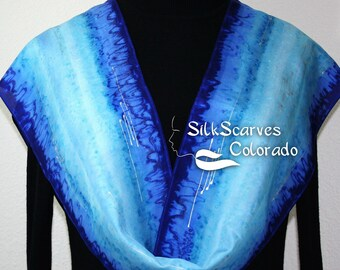 Hand Painted Silk Scarf. Blue and Turquoise Handmade Silk Scarf. Lake View Silk Scarf, in Several SIZES, by Silk Scarves Colorado.