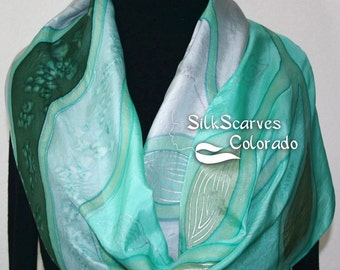 Hand Painted Silk Scarf. Grey & Teal Handmade Silk Scarf FROZEN LEAVES. Size 14x72. Birthday Gift. Anniversary Gift. Gift-Wrapped.