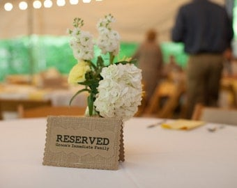 RESERVED FOR Wedding Table Card Place Holder, Burlap Kraft Rustic Country Woodland Style Reception Sign