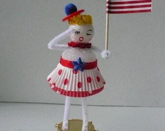 OOAK Vintage Style Spun Cotton Patriotic July 4th Decoration