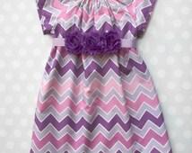 Size 2 - Ready to Ship - Shades of Purple Chevron Dress - Purple Chevron Dress - Girls Dresses -Baby Girls Dresses