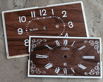 Vintage Soviet Alarm Clock Faces from 1980's -- wood imitation