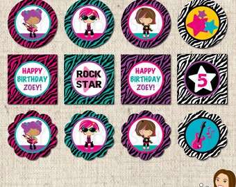 PRINTABLE Personalized Girl Rock Star Party Circles #579