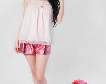 Pale Pink Slip Top with Orange Rosette