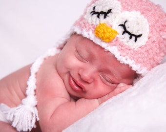 Crochet Fuzzy Pink Sleepy Owl Hat (Newborn)